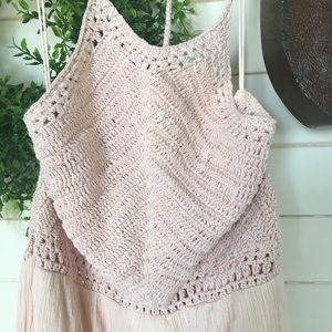 Zara Dresses - Zara Medium blush pink maxi dress with knit halter